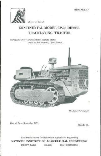 CONTINENTAL MODEL CP36 DIESEL TRACKLAYING TRACTOR TEST REPORT