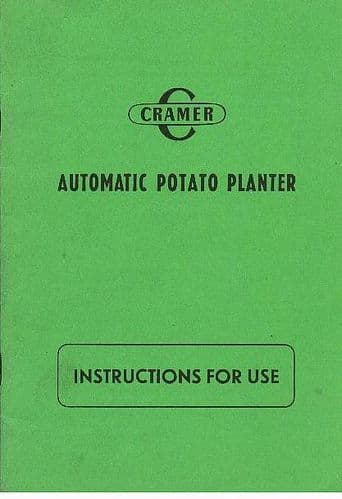 Cramer Automatic Potato Planter Operators Manual