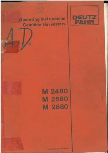 Deutz Fahr Combine M2480 M2580 M2680 Operators Manual