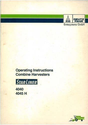 Deutz Fahr Combine Starliner 4040 & 4045H Operators Manual
