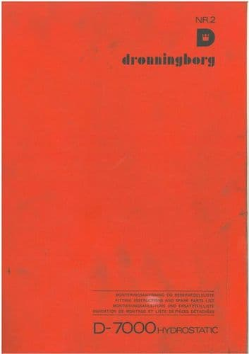 Dronningborg Combine D-7000 Hydrostatic Parts Manual