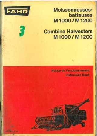Fahr Combine M1000 & M1200 Operators Manual