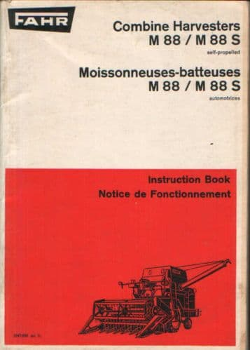 Fahr Combine M88 & M88S Operators Manual