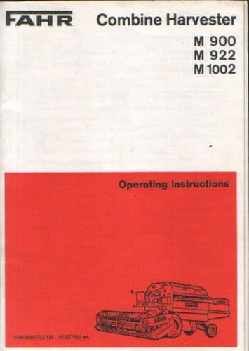 Fahr Combine M900 M922 M1002 Operators Manual - M 900 922 1002