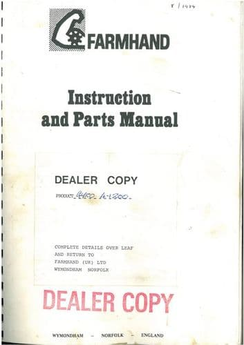 Farmhand Gyroloader Loader - Model 4-1200 Operators Manual with Parts List