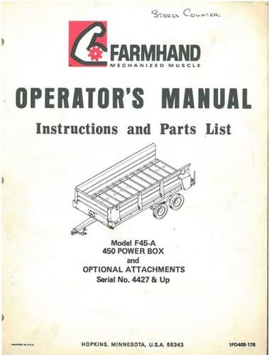 Farmhand Model F45-A 450 Power Box & Optional Attachments Operators Manual with Parts List