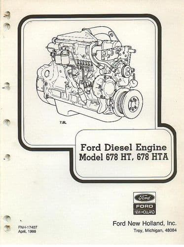 Ford Diesel Engine 678HT, 678HTA Parts Manual - 678 HT HTA