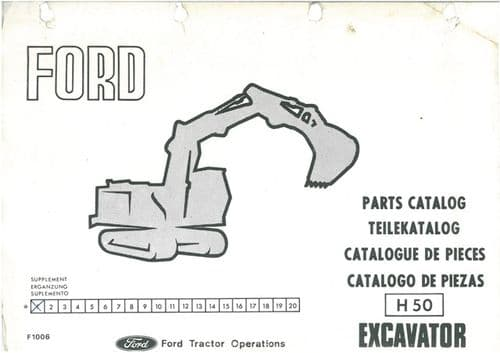 Ford Excavator H50 Parts Manual