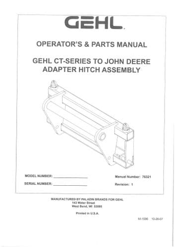 Gehl CT Series to John Deere Adapter Hitch Assembly Operators Manual with Parts List