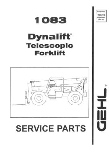 Gehl Dynalift Telescopic Forklift Model 1083 Parts Manual