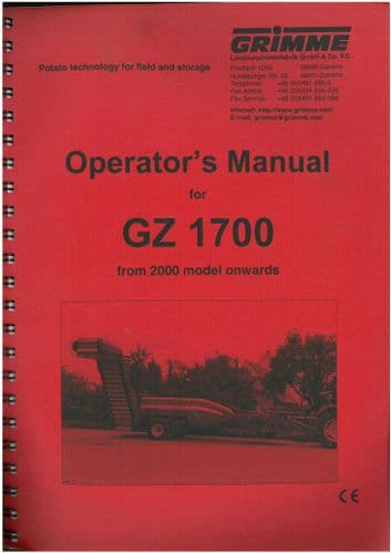 Grimme Potato Harvester GZ1700 Operators Manual - GZ 1700