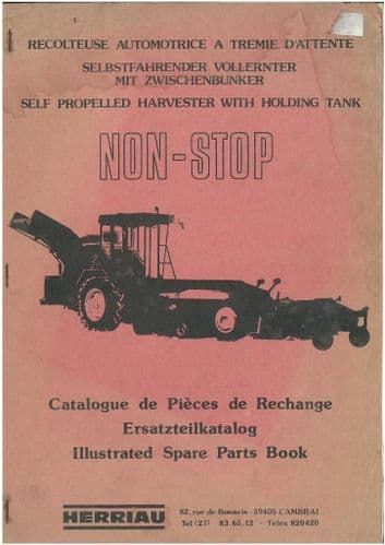 "Herriau ""Non Stop"" Self Propelled Harvester with Holding Tank Parts Manual"