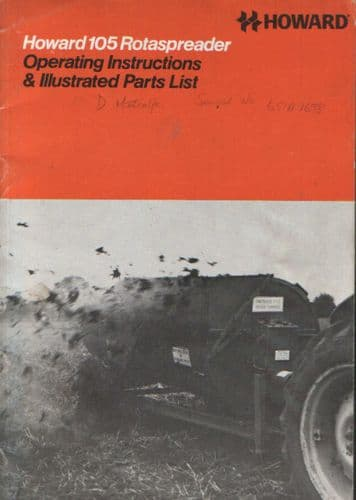 Howard Rotaspreader 105 Operators Manual with Parts List