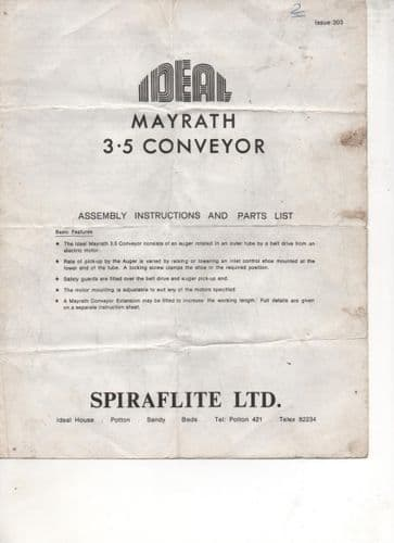 Ideal Mayrath 3.5 Conveyor Assembly Instructions and Parts List.