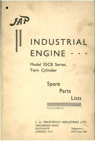 JAP Industrial Engine Model 55CB Series Twin Cylinder Parts Manual