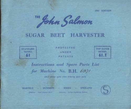 John Salmon Sugar Beet Harvester Standard Model 61 & Top Saver Model 61T Operators Manual