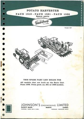 Johnson Underhaug Potato Harvester Faun 1510 1521 1530 Parts Manual