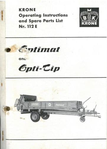 Krone Manure Spreader Optimat and Opti-Tip Operators Manual with Parts List