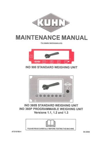 Kuhn IND 900 Standard Weighing Unit IND 360S Standard Weighing Unit IND 360P Operators Manual