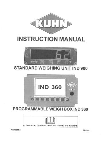 Kuhn Standard Weighing Unit Ind 900 Programmable Weigh Box Ind 360 Operators Manual