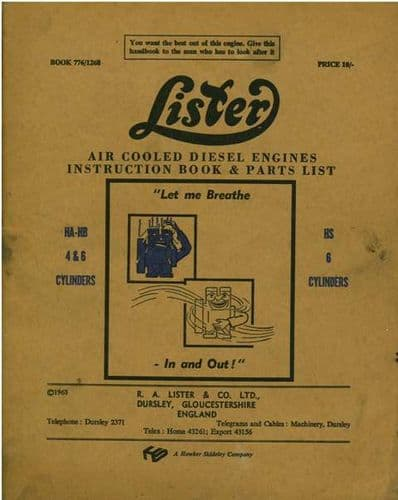 Lister Diesel Engine HA & HB - 4 & 6 Cylinders & HS 6 Cylinders Operators Manual with Parts List