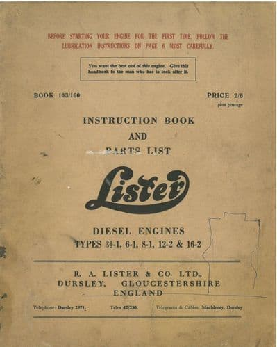 Lister Diesel Engine Types 3.5-1, 6-1, 8-1, 12-2 & 16-2 Operators Manual with Parts List