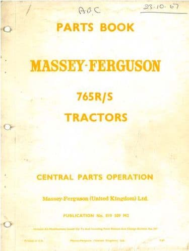 Massey Ferguson Tractor 765R/S Parts Manual