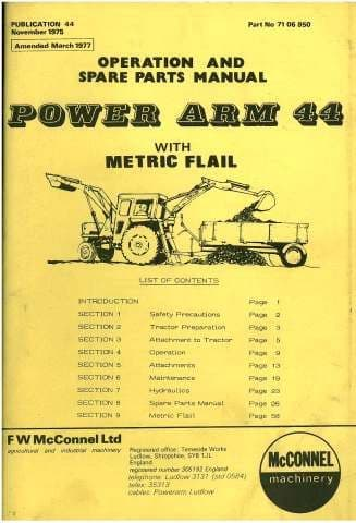McConnel Power Arm 44 Ditcher Excavator & Hedgetrimmer Operators Manual with Parts
