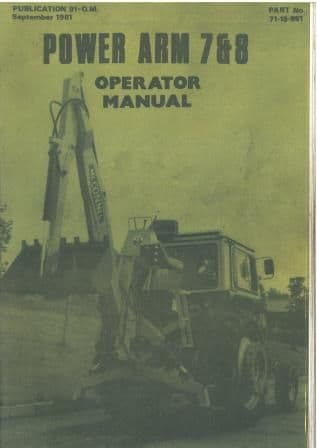 McConnel Power Arm 7 & 8 Ditcher Excavator Operators Manual