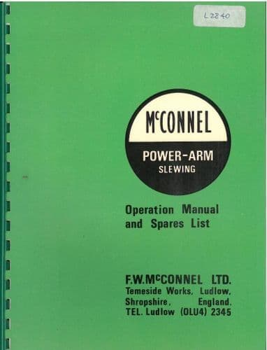 McConnel S/12 Double-D Digger Loader Excavator Operators Manual with Parts List