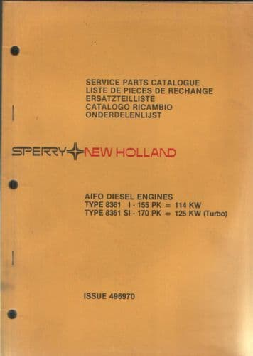 New Holland Aifo Diesel Engine Type 8361 I & 8361 SI Parts Manual