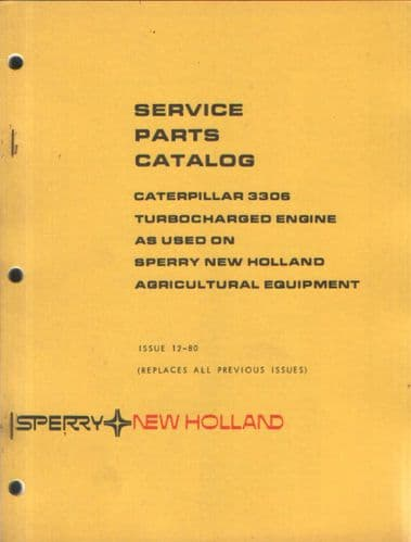 New Holland Caterpillar 3306 Turbocharged Engine Parts Manual