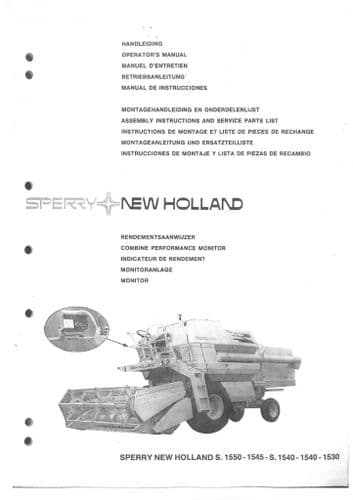 New Holland Combine 1530 1540 1545 S1550 Performance Monitor Operators Manual