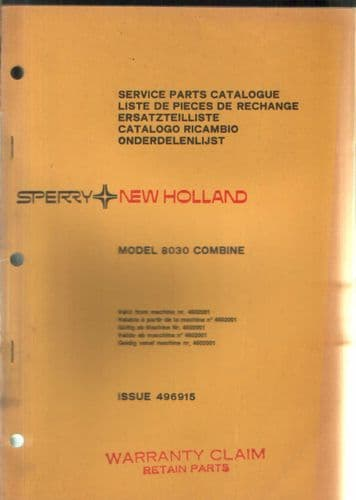 New Holland Combine 8030 Parts Manual