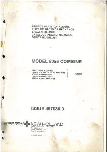 New Holland Combine 8055 Parts Manual