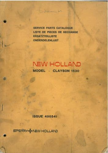 New Holland Combine Clayson 1530 Parts Manual