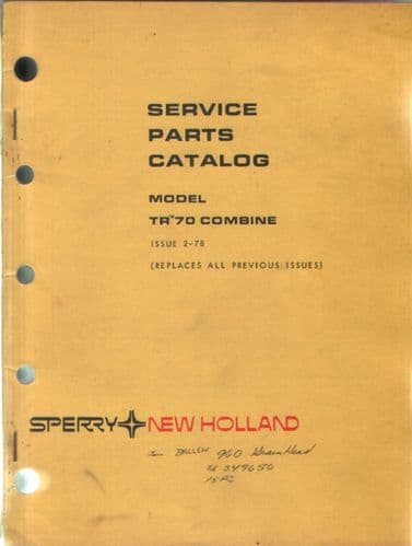 New Holland Combine TR70 Parts Manual