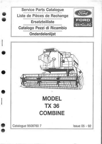 New Holland Combine TX36 Parts Manual