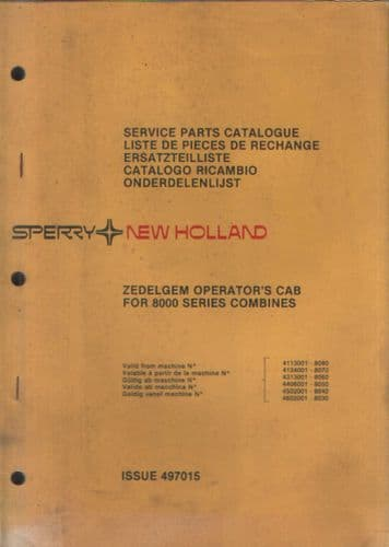 New Holland Combine Zedelgem Operators Cab For 8000 Series Parts Manual