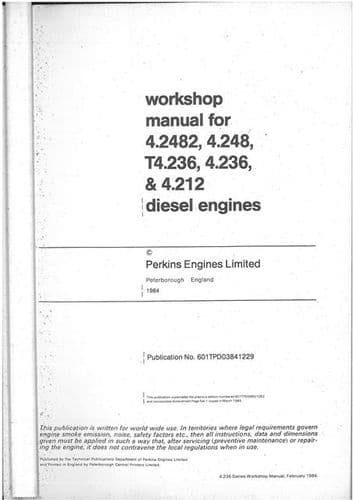 Perkins Diesel Engine 4.2482, 4.248, T4.236, 4.236, 4.212, A4.212 Service Workshop Manual - A4212