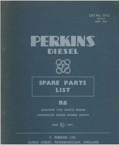 Perkins Diesel Engine R6 Parts Manual - From Engine No 5000291