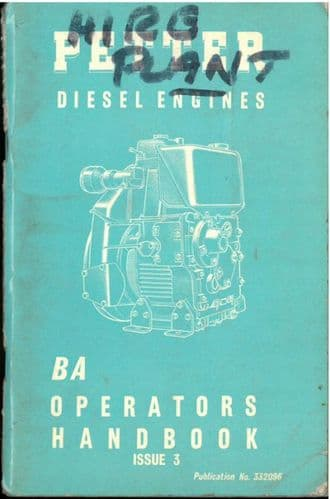Petter Diesel Engine BA1 & BA2 Operators Manual with Parts List