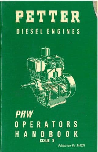 Petter Diesel Engine PH1W & PH2W Operators Manual with Parts List