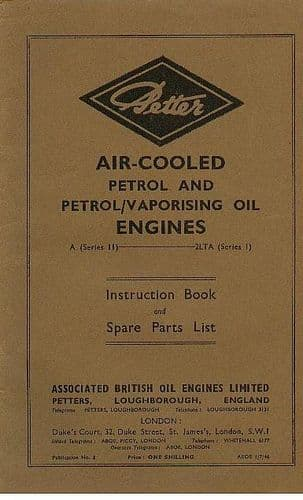 Petter Petrol & Petrol/Vaporising Oil Engine A & 2LTA Operators Manual with Parts List
