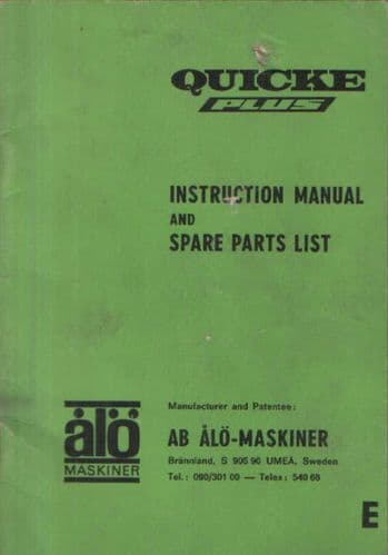 Quicke Plus Loader Operators Manual with Parts List