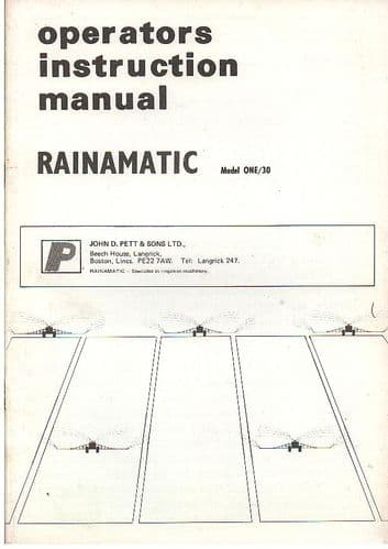 Rainmatic Irrigation System Model One/30 Operators Manual with Parts List