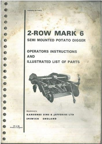 Ransomes 2 Row MK6 Semi-Mounted Potato Digger Operators Manual with Part List