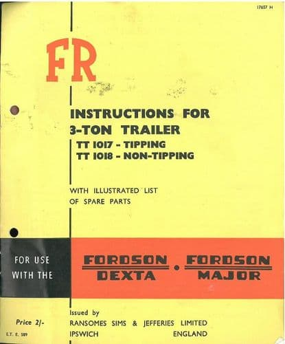 Ransomes 3 Ton Trailer (TT1017 Tipping & TT1018 Non-Tipping) Operators Manual and Parts List - TT 1017 1018