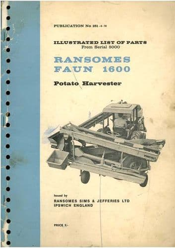 Ransomes Faun 1600 Series Potato Harvester Parts Manual