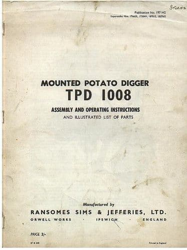 Ransomes Mounted Potato Digger TPD 1008 Operators Manual with Parts List
